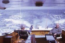 KODACHROME 35mm Slide Men Smoking Cigar On Deep Sea Fishing Trip Boat Rods 1967!