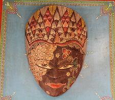 Wooden Hand Carved Painted Batik Javanese Tribal Mask Wax-Resisting Fabric
