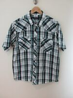 Wrangler Mens Shirt Size XL Short Sleeve Button Up Regular Fit Pearl Snaps Plaid