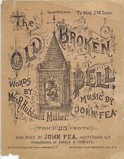The Old Broken Bell, Sheet Music, Piercy & Co, Troy, NY