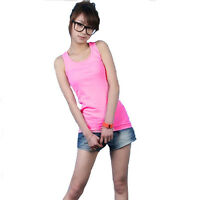 Basic Women's Solid Tank Top Racer Back Cami Vest No Sleeve T-Shirt 5 Types