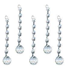 5PCS Clear Crystal Glass Chandelier Light Ball Prism Parts Drops Pendant 20mm