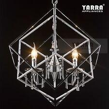 3-Light Chandelier Crystal Pendant Cubic Chrome Finish