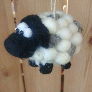 FESTIVE SHEEP 100% pure wool CHRISTMAS TREE DECORATION NEW