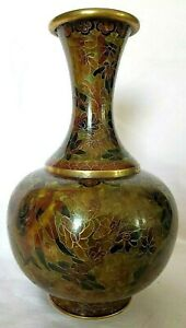 Cloisonne Jingfa 9.25 in Vintage Enamel Multi Brown Tones Floral Vase