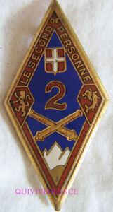 IN14446 - INSIGNE 2° Régiment d'Artillerie, 2 et bandeau rouge, émail