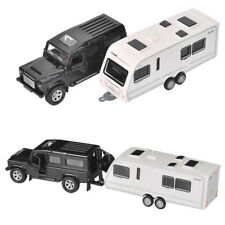 Land Rover Defender Trailer w/ Motorhome Car Model Diecast Toy Vehicle Gift