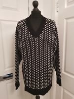 """THAKOON ADDITION Relaxed Fit Chunky Cable Merino Wool V-Neck Black/Grey Size """"S"""""""