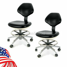 2x Dental Lab Doctor Assistant Stool Adjustable Height Mobile Chair Pu Leather