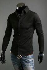 Luxury Shirts Mens Casual Formal Slim Fit Shirt Top S M L XL XXL Ps01 Black Tag Sizem(us Xs)