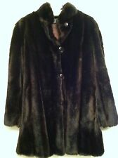 Vintage Womens Mincara Styled By Russell Taylor Dark Chocolate Faux Fur Coat S