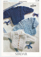 Sirdar Knitting Pattern 3734 Snuggly DK Baby  Sweater Cardigan 16 - 24""