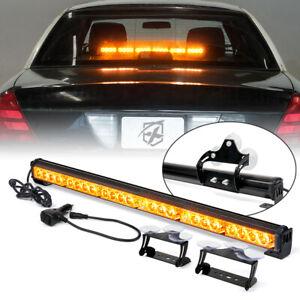 "27"" LED Strobe Light Bar Interior Dash Windshield Warning Traffic Advisor Amber"