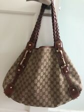 Authentic GUCCI Horse Bit Pelham Handbag, Rich Brown GG Monogram, Bag, Purse