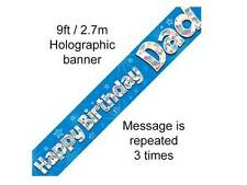 "HAPPY BIRTHDAY ""DAD"" DADDY FATHER BANNER HOLOGRAPHIC BLUE oak"