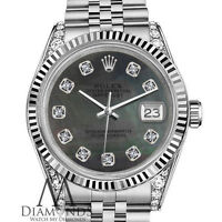 Women's 18k & SS Rolex 36mm Datejust Black Mother Of Pearl Diamond Accent Dial