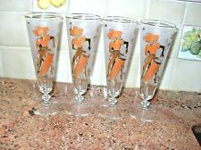 Vintage MCM Set 4 Libbey Caribbean Cruise Pilsners Glasses HTF Retro Caribe