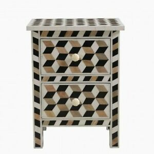 MADE TO ORDER Bone Inlay Indian Handicraft Bedside Cabinet Table Geometric