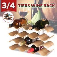 3/4 Tiers Wine Rack Bottle Holder Alcohol Tabletop Wood Bamboo Beer Bar