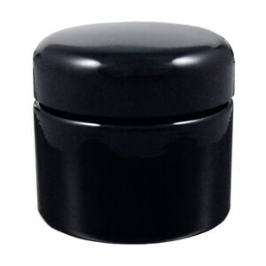 Miron Violet Glass Wide Neck Cosmetic/Herb Jar 50ml (Standard) with Black Lid