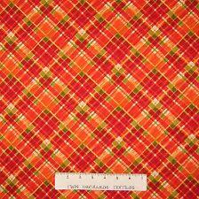 Fall Fabric - Autumn Abundance Diagonal Red Green Orange Plaid - Studio E YARD