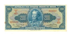 Brazil 200 Cruzeiros - ND 1961 Banknote  -  XF
