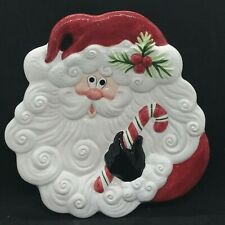 Fitz & Floyd Holiday Santa & Candy Cane Canape Snack Tray Plate 10""