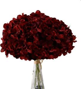 AVIVIHO Hydrangea Silk Flowers Burgundy Heads Pack of 10 Big Hydrangea Flowers A