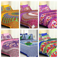 Ombre Mandala Cotton Queen King Double Bed Spread Bed Sheet With Pillow Covers