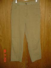Women's WOOLRICH 1007 DARK KHAKI Flat Front Denim Stretch Jeans Size 12 P338