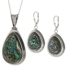 Pendant Set in Sterling Silver Beautiful New Genuine Abalone Earring and