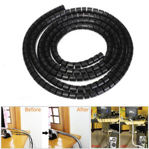 10mm/25mm 2M Spiral Cable Wrap Tidy Cord Wire Banding Storage Organizer 2 Colors