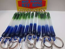 Lot of 12 Coil with Mini Trigger Snap Belt Clip Key Chain Key Rings Blue-Green