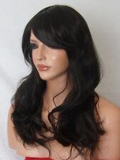 Dark Brown ladies adult Wig long real natural full head wavy heat ok hair wig P2