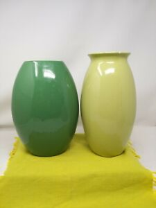 2 X LARGE PLAIN GREEN FLOWER VASES CERAMIC 25 & 26CM