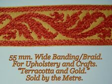 """Terracotta/Gold Chenille, Braid/Banding 2.1/4""""(55 mm.) wide.Upholstery & Crafts."""
