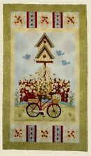 "Primitive Birdhouse Bicycle Fabric ~ 100% Cotton 24"" Panel ~ Petal Pushers Scene"