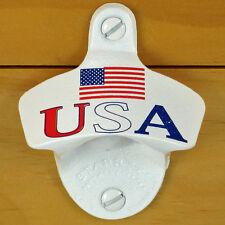 White USA Flag Starr X Wall Mount Stationary Bottle Opener, Powder Coated NEW!!