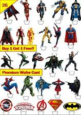 52 Marvel vs Comic Heroes Cup Cake Toppers Premium Wafer Paper Edible *Stand Up*