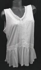 Cable & Gauge Sleeveless Top White Slub Knit Crochet Burn-out Peplum L $60