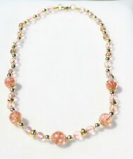 NECKLACE PENDANT delicate pink glass shiny beads