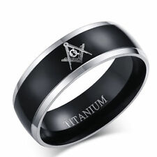 8MMStainless Steel Titanium Masonic Wedding Band Black Ring Women Men Size 7-12