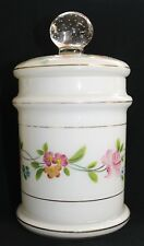 A beautiful flower enamelled glass biscuit barrel in lovely condition.
