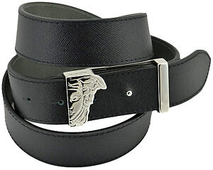 $350 VERSACE Black Gray Leather MEDUSA Silver DOUBLE Buckle Mens Belt REVERSIBLE