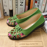 Retro Women Enthnic Flat Canvas Floral Shoes Summer Pumps Mother Day Gift Loafer