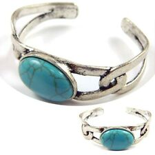 Burnished Silver Loop Link Bangle Cuff Bracelet Genuine Howlite Oval Stone