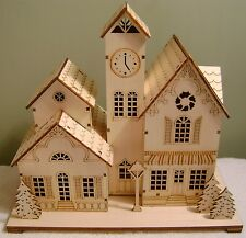 "9.75"" Hallmark Christmas Wooden Cut-Out Light-Up Village Buildings"