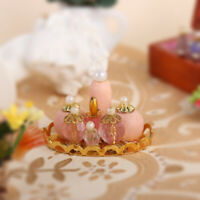 1/12 Dollhouse Miniature Decor Accs Pink Perfume Bottles with Golden Tray