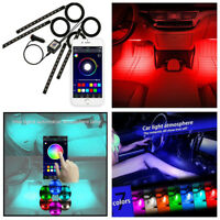 4x 12 LEDS Car Atmosphere RGB Phone App Music Control Strip Lights Interior Kit