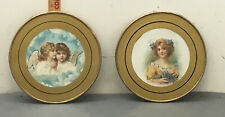 Pair Of Victorian Flue Covers 8.5� Angels Girls & Woman W/flowers
